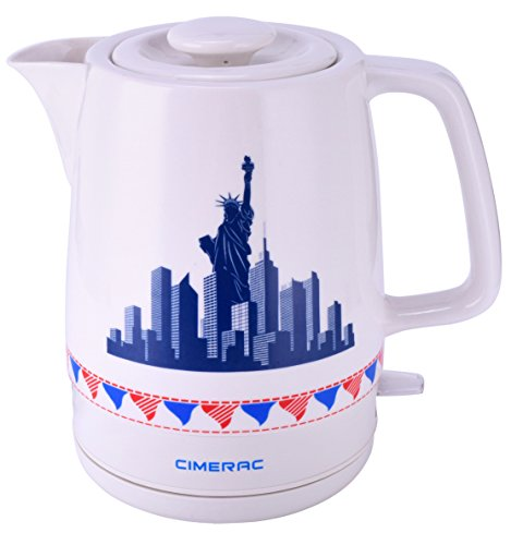 CIMERAC 1.7L Electric Ceramic Tea Coffee Water Kettle with Boil-Dry Protection,Statue of Liberty