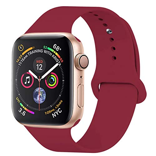 YANCH Compatible with for Apple Watch Band 42mm 44mm, Soft Silicone Sport Band Replacement Wrist Strap Compatible with for iWatch Nike+,Sport,Edition,S/M,Rose Red