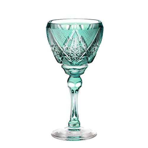 Satsuma Kiriko cut-grass Wine glass (Green) / Yamashita Craft
