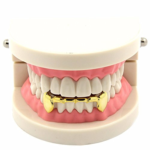 TSANLY 24K Gold Plated Grillz Bottom Vampire Fangs Grill Hip Hop Teeth Caps + Extra Molding Bars + Microfiber Cloth