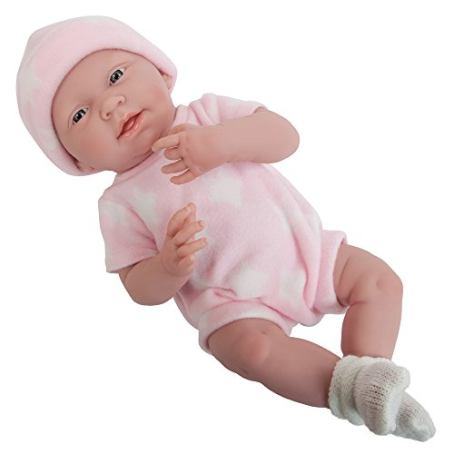 "La Newborn Boutique - Realistic 15' Anatomically Correct Real Girl Baby Doll – All Vinyl ""Pink and White"" Designed by Berenguer – Made in Spain"