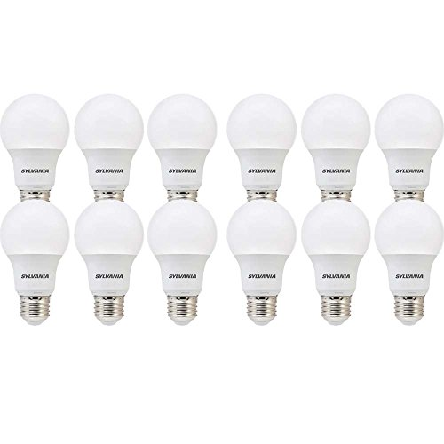 SYLVANIA, 60W Equivalent, LED Light Bulb, A19 Lamp, 12 Pack, Day Light, Energy Saving & Longer Life, Value Line, Medium Base, Efficient 8.5W, 5000K
