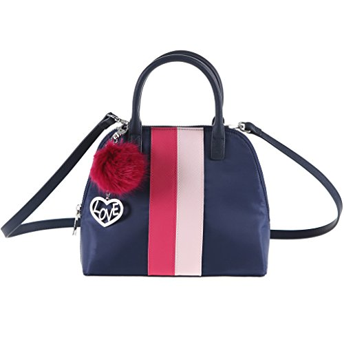 This mini bowler bag boasts contrast striping and a removable faux-fur pompom charm. Short top handles, removable cross-body strap Zippered top with wide opening