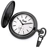 "Product review of Speidel Classic Brushed Satin Black Engravable Pocket Watch with 14"" Chain, Bright Silver Dial, Date Window, Seconds Sub-Dial and Luminous Hands"