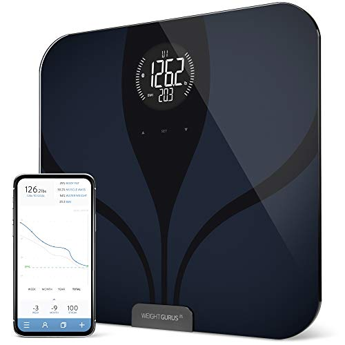 Smart Bluetooth Scale by GreaterGoods, Smart Bathroom Scale with Secure Connected Solution for Your Data, incl Weight, BMI, Body Fat, Muscle Mass, Water Weight, and Bone Mass, Large Backlit Display