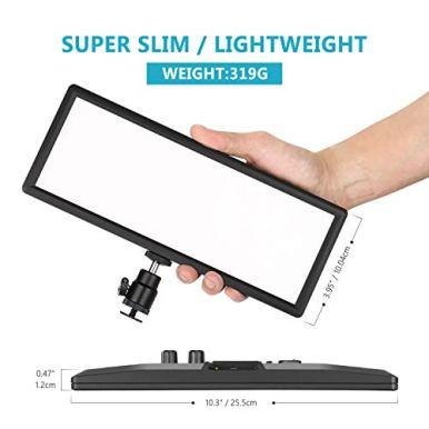 Neewer-Super-Slim-Bi-Color-Dimmable-LED-Video-Light-with-LCD-Display-2600mAh-Li-ion-Battery-and-Charger-Ultra-High-Power-LED-Panel-3200K-5600K-for-Camera-Photo-Studio-Portrait-Video-Photography
