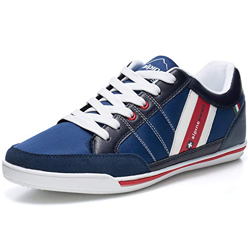 alpine swiss Mens Stefan Navy Suede Trim Retro Fashion Sneakers 11 M US