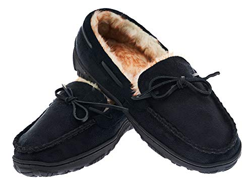 MIXIN Men's Comfortable Casual Indoor Outdoor Slip On Driving Loafers Rubber Sole Moccasins Slippers Shoes (9 M US Men, Black)