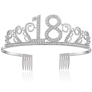 Wolintek 18th Birthday Tiara for Girls, Happy Birthday 18th Silver Crystal Tiara Crown for Birthday Parties or Birthday Cakes 415BgTvHVRL