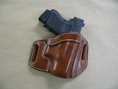 Azula OWB Leather 2 Slot Molded Pancake Belt Holster for Glock 26, 27, 33 CCW TAN RH