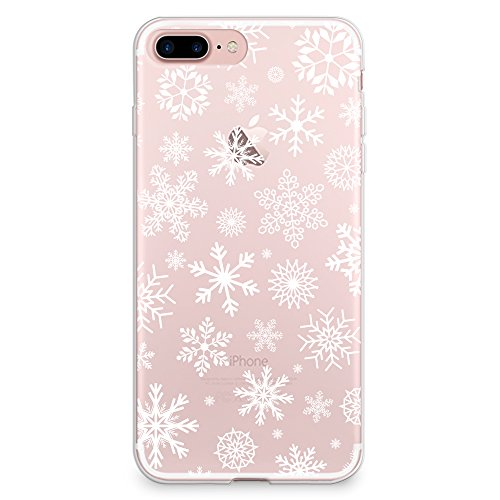 CasesByLorraine iPhone 8 Plus Case, iPhone 7 Plus Case, Christmas Snowflakes Clear Transparent Case Xmas Holiday Flexible TPU Soft Gel Protective Cover for Apple iPhone 7 Plus & iPhone 8 Plus (P65)