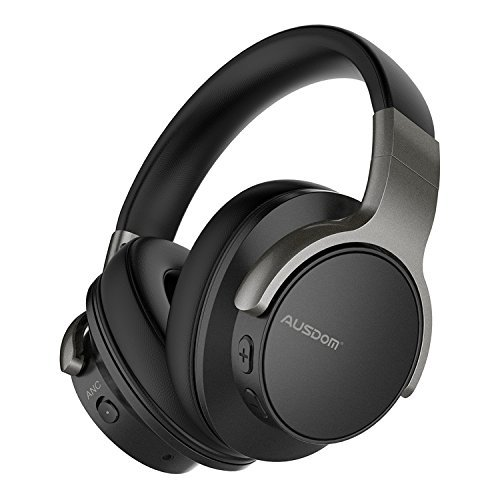 Ausdom ANC8 Active Noise Cancelling Bluetooth Headphones, Over Ear Wireless Headphones Wired Headsets with Microphone, 30H Playtime Comfortable for Travel Work TV PC Computer Cellphone Music – Black