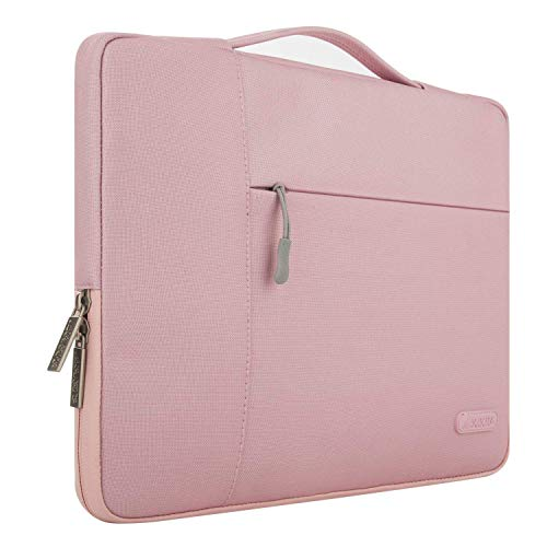 MOSISO Laptop Briefcase Handbag Compatible with 13-13.3 inch MacBook Air, MacBook Pro, Notebook Computer, Polyester Multifunctional Carrying Sleeve Case Cover Bag, Pink