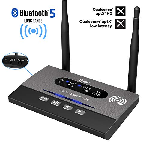 Giveet Long Range Bluetooth Latest V5.0 Transmitter Receiver Pass-Through 3 in 1, 265Ft Wireless Audio Adapter, aptX HD & Low Latency, Dual Link, Optical RCA AUX 3.5mm for TV PC Home Stereo