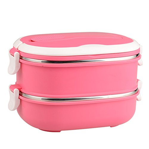 Mr.Dakai 2 Tier Stainless Steel Insulated Square Lunch Box for Kids &Adult, Portable Picnic Storage Boxes, School Student Food Container with Spoon (Pink)