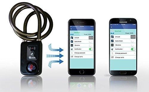 "Nulock Keyless Bluetooth Bike/Motorcycle/Gate Lock IP44 Splash-proof Cycling Lock with 110db Alarm, 0.38"" Diameter 47-inch Braided Steel Cable"