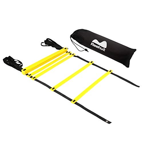 REEHUT Agility Ladder w/ Free User E-Book + Carry Bag - Speed Training Equipment (Yellow, 8 Rungs)