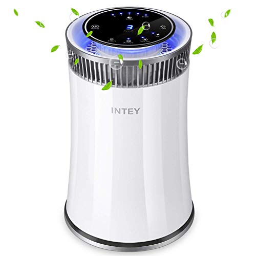 INTEY for Home and Office with True HEPA Filter, Cleaner for Allergies and Pets, Dander, Odors, Smokers, Mold, Dust, Pollen, Germs with 5 Timer, 5 Speed, UV Air Sanitizer, 6.8815.27in,