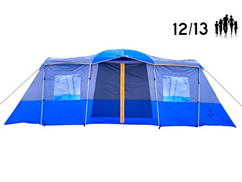 Americ-Empire-14-12-Person-Tent-for-Camping-with-Rooms-Fits-6-Queen-Beds-21ft-x-10ft-Extra-Large-Family-Tent-for-Camping-Waterproof-This-Huge-3-Room-Tent-is-the-Best-Multi-Room-Tent-w-Steel-Poles