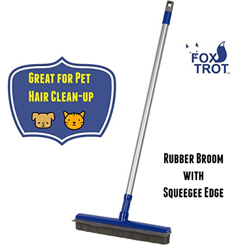FUR BUSTER Rubber Broom With Squeegee - Pet Hair Removal -Dog Hair - Cat Hair - Water Spills - Multipurpose Surfaces - Extendable Pole Makes Cleaning Easy