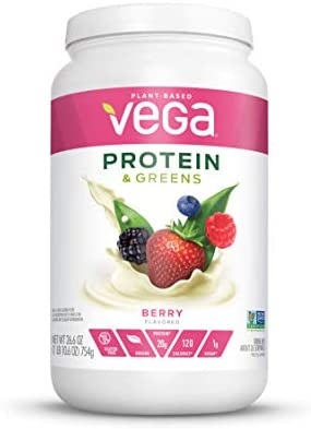 Vega Protein and Greens, Berry, Plant Based Protein Powder Plus Veggies - Vegan Protein Powder, Keto-Friendly, Vegetarian, Gluten Free, Soy Free, Dairy Free, Lactose Free (26 Servings, 1lb 10.6oz) 1