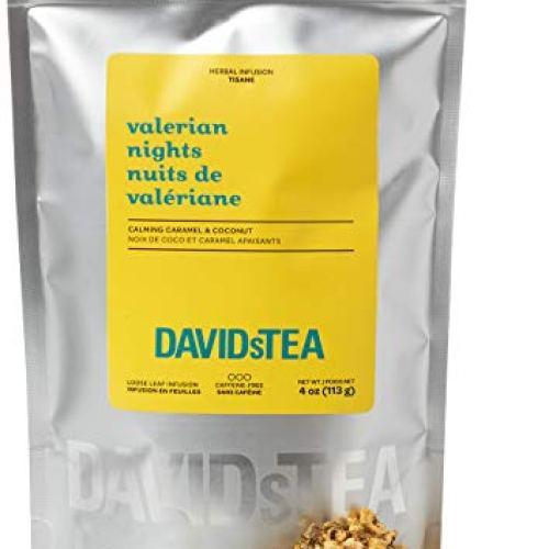 DAVIDsTEA Valerian Nights Loose Leaf Rooibos Tea, Premium Relaxing Sleep Tea with Valerian Root, Coconut and Caramel, 4…