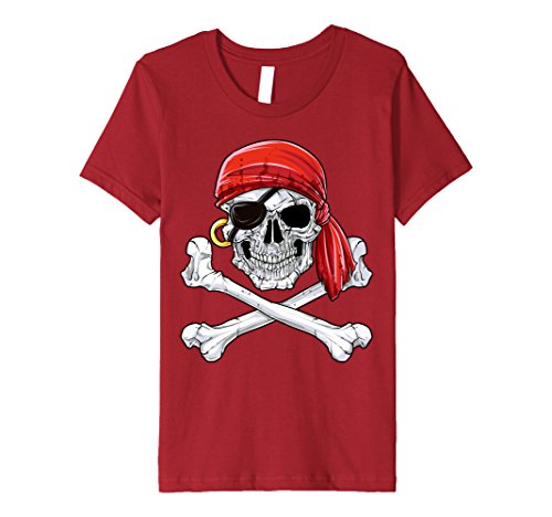 Kids Skull & Crossbones T-shirt Pirate Flag Shirt, red