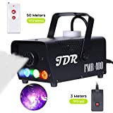 JDR Fog Machine with Controllable lights, DJ LED Smoke Machine(Red,Green,Blue) with Wireless and Wired Remote Control for Holidays Parties Weddings Christmas Halloween,with Fuse Protection