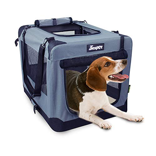 JESPET Soft Dog Crates Kennel for Pets, 3 Door Soft Sided Folding Travel Pet Carrier with Straps and Fleece Mat for Dogs, Cats, Rabbits, Blue & Beige 1