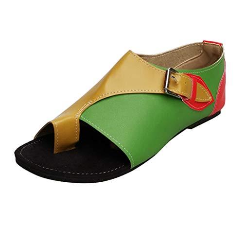 Flip Flops Sandals for Women,SMALLE‿ Women Comfortable Silp-On Sandals Rivets Flat Sandal Summer Boots Green
