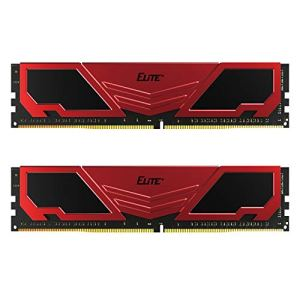 TEAMGROUP-Elite-Plus-DDR4-16GB-Kit-2x8GB-2400MHz-PC4-19200-CL16-Unbuffered-Non-ECC-12V-U-DIMM-288-Pin-PC-Computer-Desktop-Memory-Module-Ram-Upgrade-Red-Black-TPRD416G2400HC16DC01