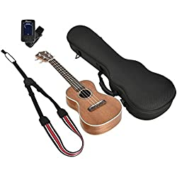 Fino Mahgony Ukulele Sets Tenor Size 26 inch with Hard Case Including Tuner Strap for Beginners Starters Kids Playing
