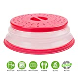 Microwave Plate Cover by Annaklin, Prevents Food Splatter, Collapsible, Vented, BPA-Free & Non-Toxic, 10.5 Inch, Red