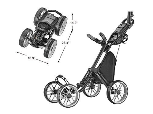 CaddyTek Caddycruiser One Version 8 - One-Click Folding 4 Wheel Golf Push Cart, Dark Grey
