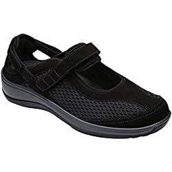 Orthofeet Sanibel Proven Pain Relief Comfortable Orthopedic Diabetic Womens Mary Jane Shoes for Flat Feet Black