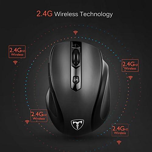 Wireless Mouse, 2.4G Ergonomic Computer Mouse with USB Receiver, Finger Rest, 5 Adjustable DPI Levels, Mobile 2400DPI USB Mice for Laptop Chromebook Notebook MacBook Computer, Black