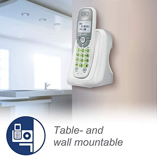 VTech CS6114 DECT 6.0 Cordless Phone with Caller ID/Call Waiting, White/Grey with 1 Handset 20