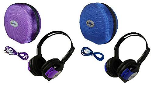 2 Pack Kid Sized Wireless Infrared Car DVD IR Automotive Colored Adjustable 2 Channel Headphones With Case and 3.5mm Auxiliary Cord. Note: Will Not Work on 2017+ GM's or Pacifica