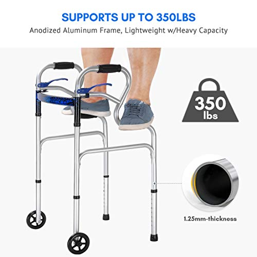 Health Line 3 in 1 Stand-Assist Folding Walker with Trigger Release and 5″ Wheels Supports up to 350 lbs, Compact Lightweight & Portable – w/Bonus Glides, Silver deal 50% off 415yp4WHMgL