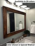 Shiplap Large Wood Framed Mirror Available in 3 Sizes and 20 Colors: Shown in Special Walnut Stain - Large Wall Mirror - Rustic Barnwood Style - Bathroom Vanity Mirror - Rustic Bathroom Decor