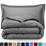 Bare Home Comforter Set - Full/Queen - Goose Down Alternative - Ultra-Soft - Premium 1800 Series - Hypoallergenic - All Season Breathable Warmth (Full/Queen, Light Grey)