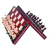 Wegiel Handmade European Travel Magnetic Chess Set - Wooden 10.4 Inch Board With Carved Wood Pieces