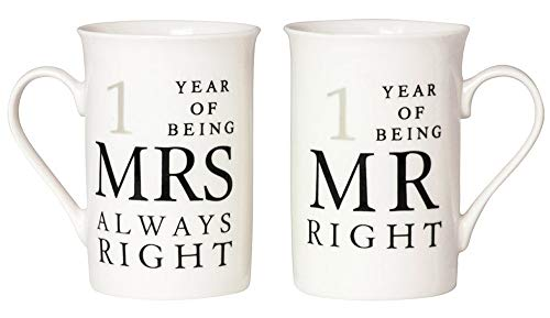 Ivory 60th Anniversary Mr Right & Mrs Always Right Mug Gift Set by Happy Homewares