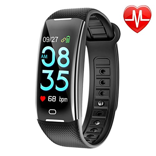 KARSEEN Fitness Tracker Smart Watch H3 Color Screen for Blood Pressure and Heart Rate Monitor Phone Enabled IP67 Waterproof Pedometer Sports Watch for Men (Black)
