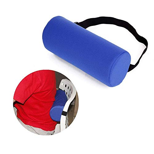 NEPPT Lumbar Roll Support Pillow Cushion Firm Backrest Spine Thoracic Posture Lower Back Pain Relief Adjustable Pillows for Office Chair Car Seat Round Foam Portable Strap Physical Therapy Neck Relax