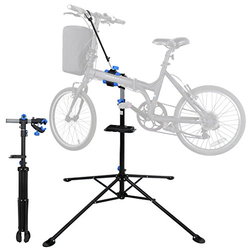 F2C Portable Adjustable 42.5' to 74' Pro Home Steel Maintenance Mechanic Bicycle Bike Repair Tool Rack Stands Workstand w/Telescopic Arm, Tool Tray& Balancing Pole Cycle Bicycle Rack