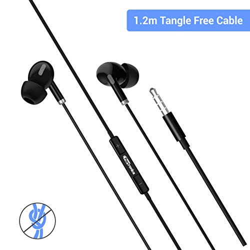 4167mkG5h7L Portronics Conch Delta in-Ear Wired Earphone, 1.2m Tangle Free Cable, in-Line Mic, Noise Reduction, 3.5mm Aux Port and High Bass, for All Android & iOS Devices(Black)