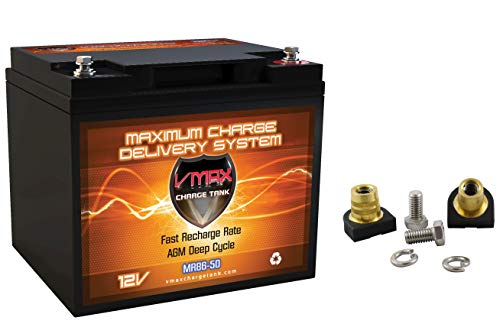 MR86-50 + VCP6 VMAX 12 Volt 50Ah AGM Deep Cycle Sealed Maintenance-Free 12V Battery + VCP6 6mm Charging Posts (7.8' L x 6.6' W x 6.7' H)