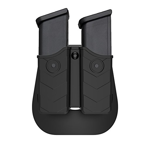 Double Magazine Pouch, Dual Stack Mag Holster with Adjustable Paddle, Universal 9mm and .40 Magazine Holder Fits Glock H&K Smith & Wesson Ruger Sig Sauer CZ Browning Taurus Beretta Walther and More
