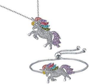 SHWIN Unicorn Necklace – 2 or 4 Pack Rainbow Unicorn Necklace Bracelet Set for Girls Jewelry Unicorn Gifts Set